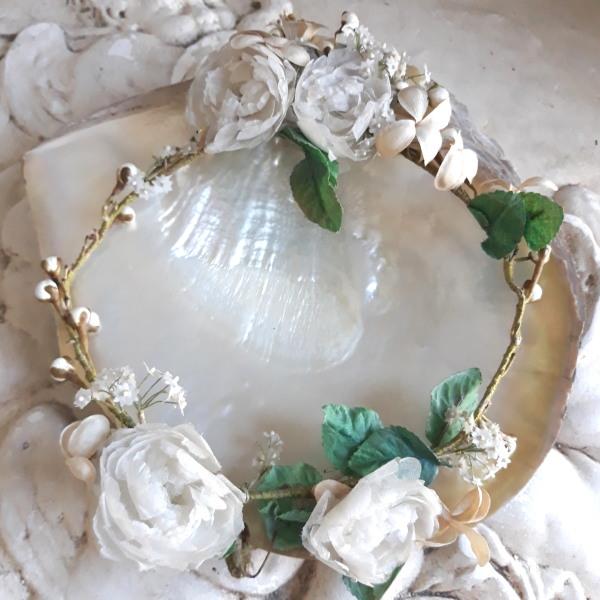 ベルギーアンティーク 19世紀末 ふっくら豪華な薔薇 気品のあるマリアージュ花冠